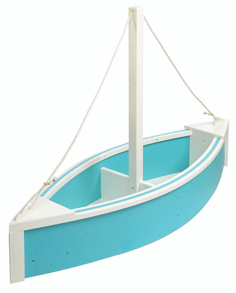 Amish Handcrafted Sailboat Planter - Poly Outdoor Nautical Flower Box In Primary Color: Aruba Blue, Accent Color: White
