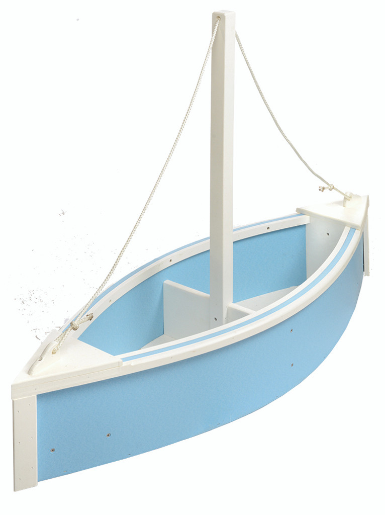 Amish Handcrafted Sailboat Planter - Poly Outdoor Nautical Flower Box In Primary Color: Powder Blue, Accent Color: White