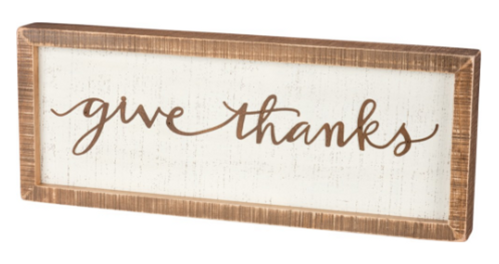 Give Thanks Inset Box Sign