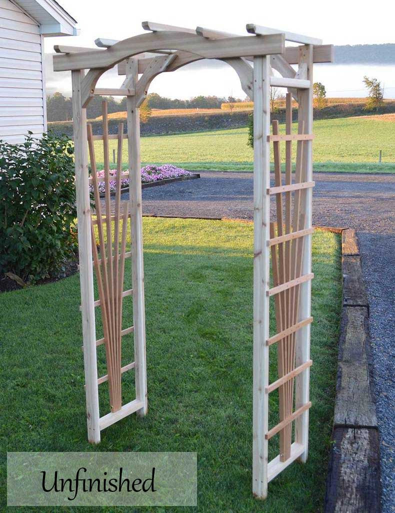 Amish Handcrafted Concord Cedar Wood Arbor Unfinished