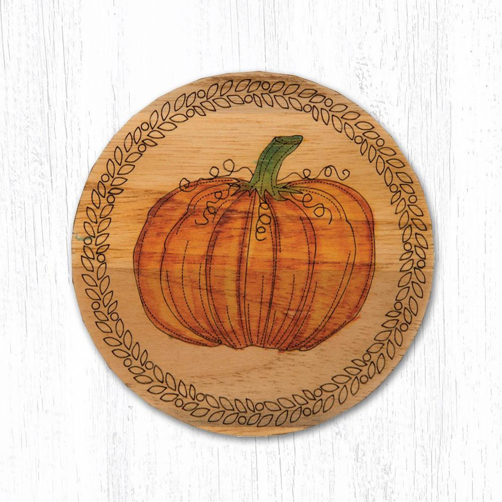 Pumpkin Teak Wood Coaster