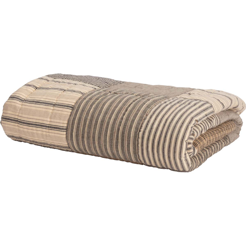 Sawyer Mill Charcoal Quilted Throw by VHC Brands - Folded