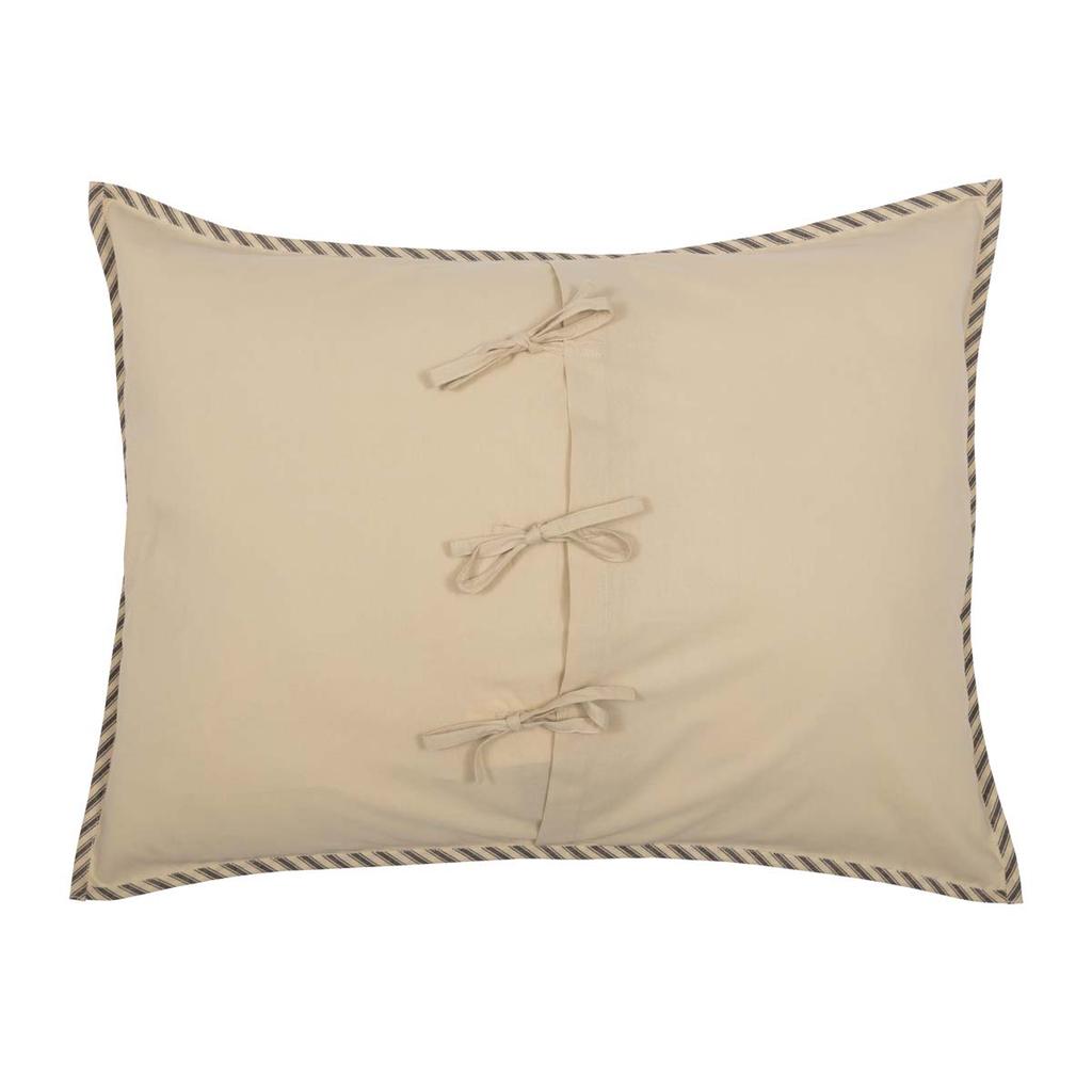 Sawyer Mill Charcoal Ticking Stripe Sham by VHC Brands - Standard Back