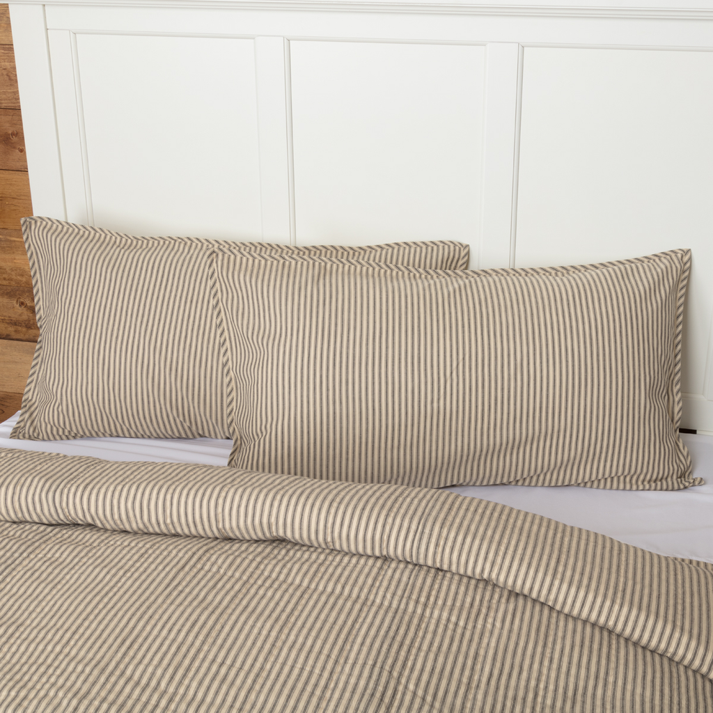 Sawyer Mill Charcoal Ticking Stripe Collection Sham by VHC Brands