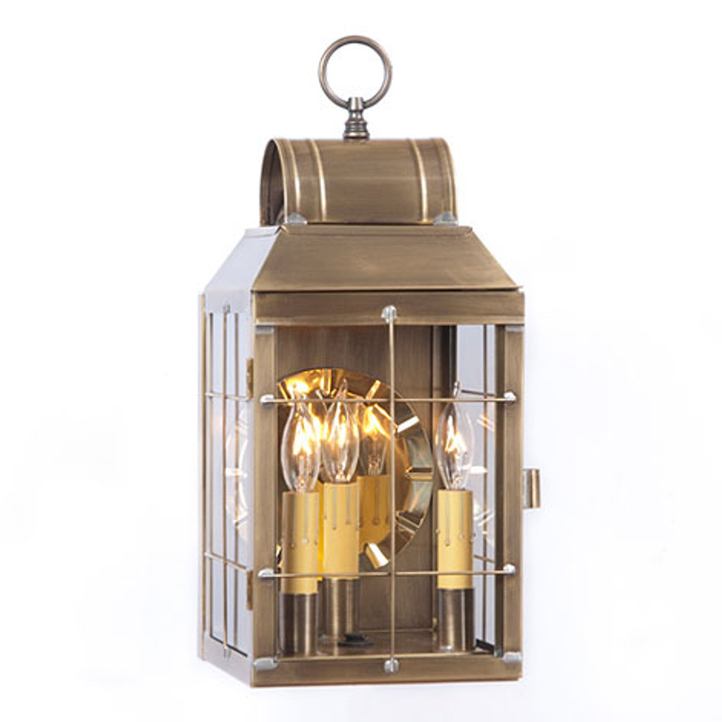 Irvin's Tinware Martha's Wall Lantern Finished In Weathered Brass