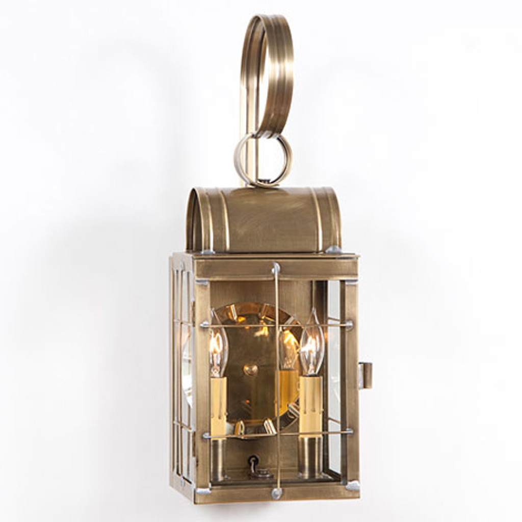 Irvin's Double Wall Outdoor Lantern With Cross Bars Finished In Weathered Brass