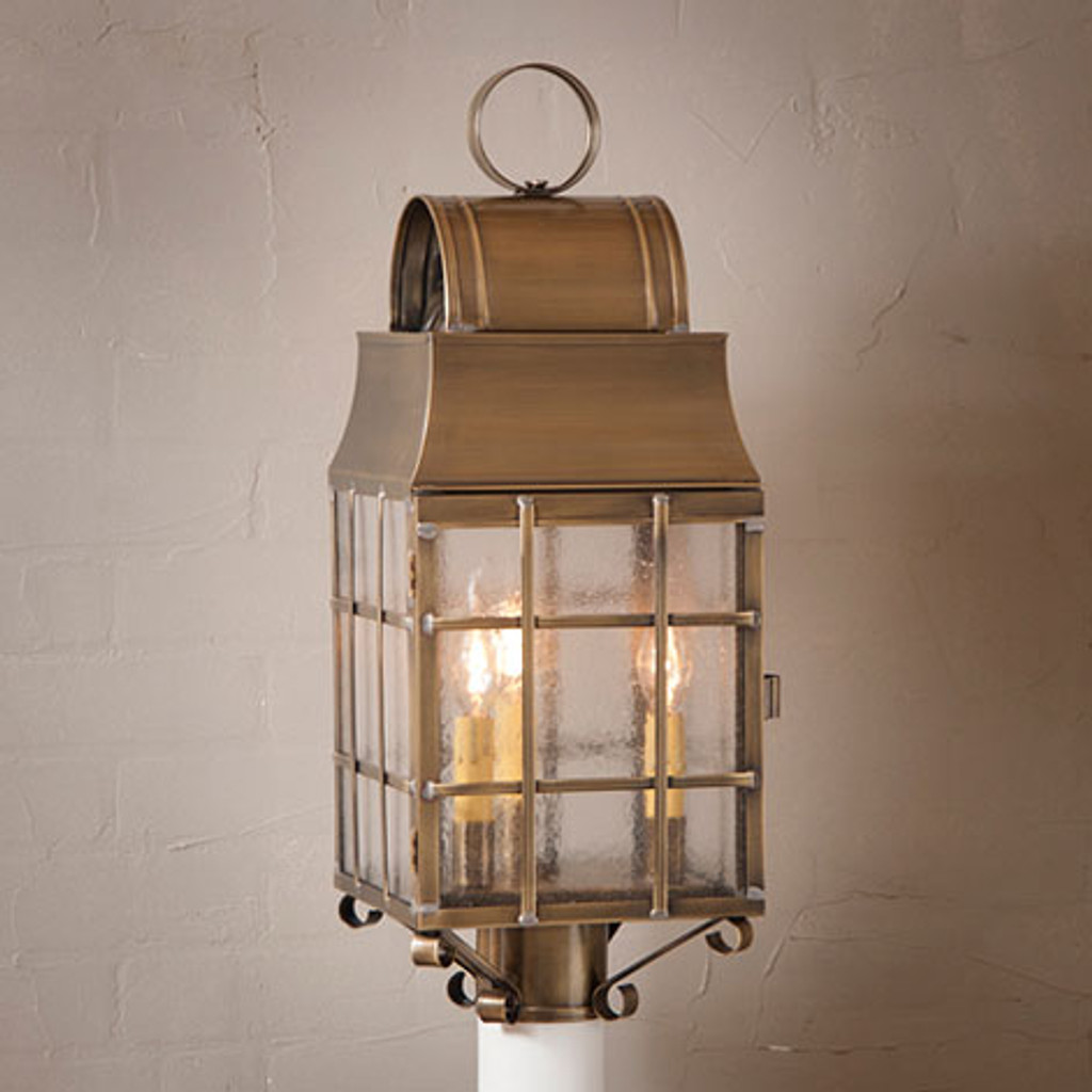 Irvin's Tinware Washington Post Outdoor Lantern Finished In Weathered Brass