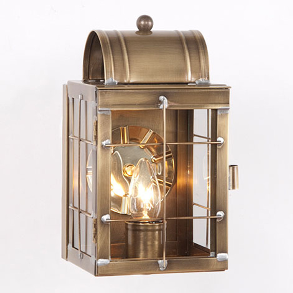 Irvin's Tinware Small Wall Outdoor Lantern Finished In Weathered Brass