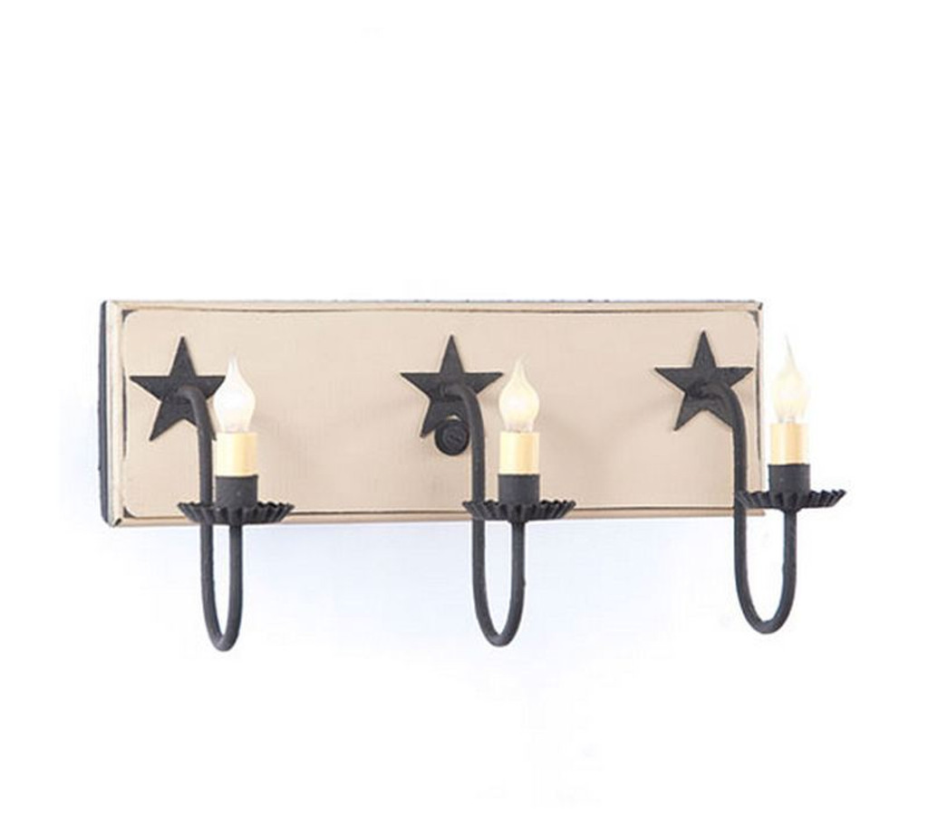Irvin's 3 Arm Vanity Light With Stars In Sturbridge White