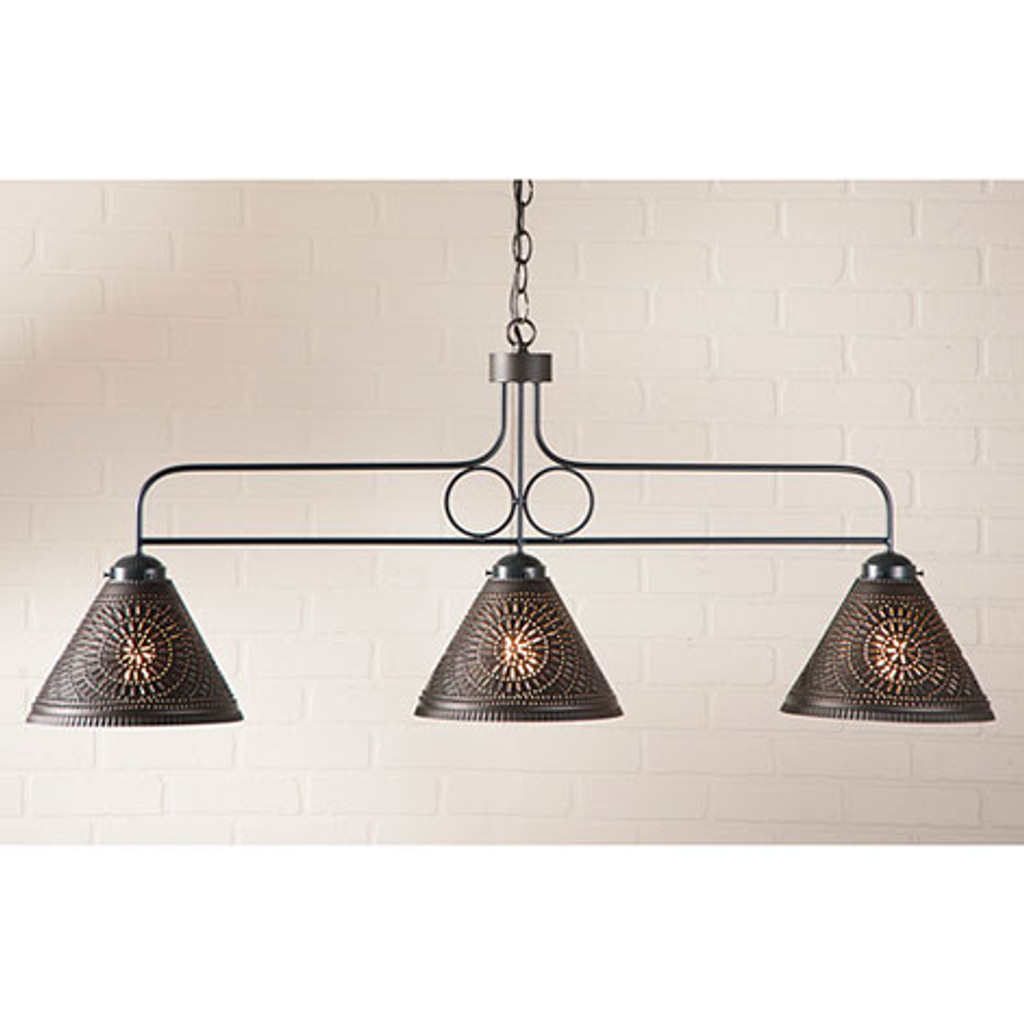 Irvin's Franklin Large Hanging Light With Chisel Design Finished In Kettle Black