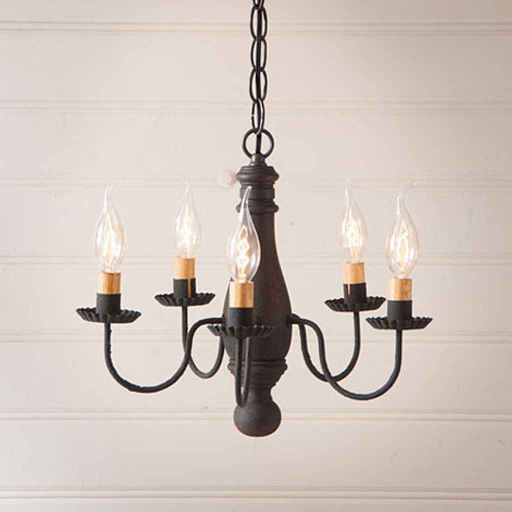 Irvin's Bed & Breakfast Wooden Chandelier In Hartford Black Over Red