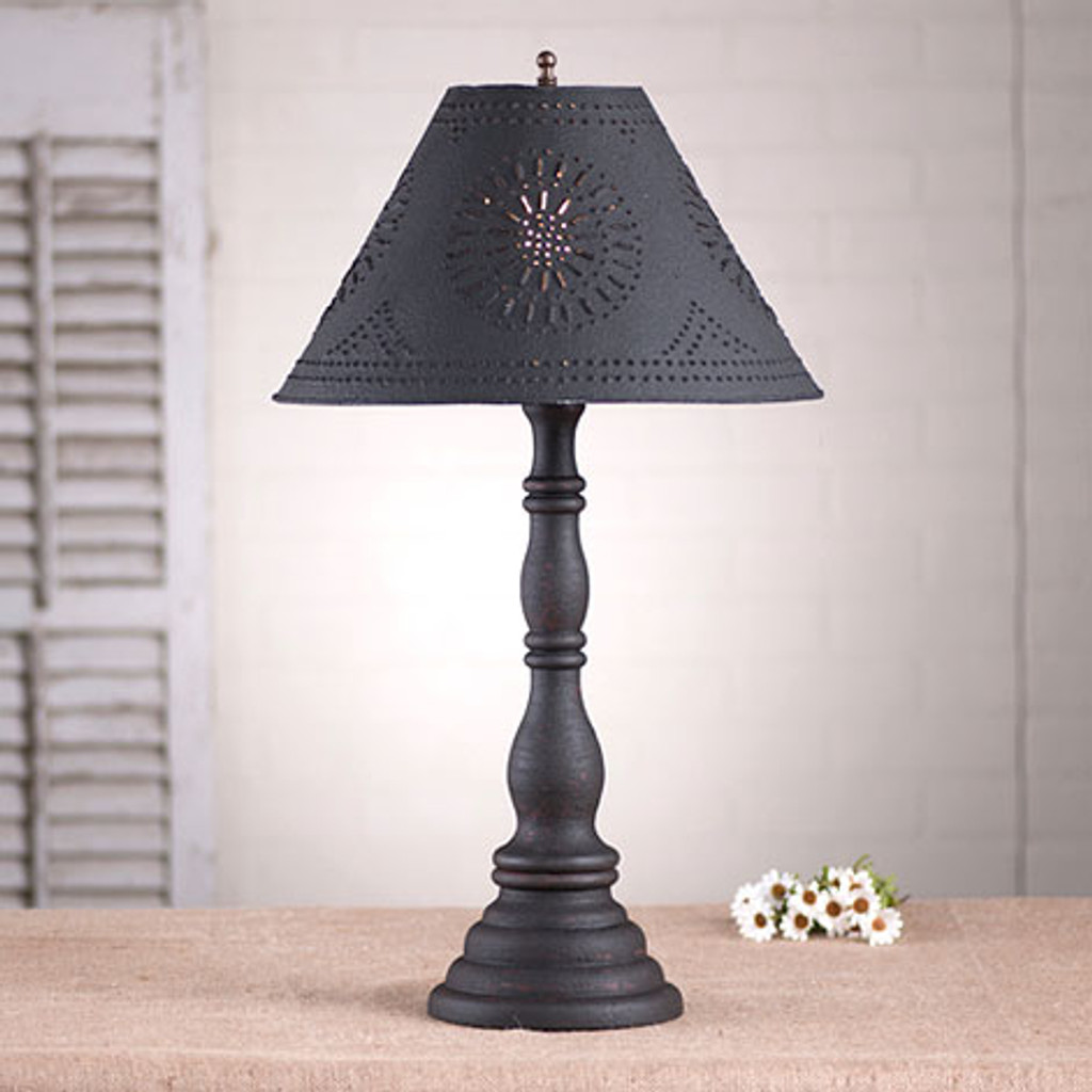 "Irvin's Davenport Lamp In Hartford Black, Shown With Optional 15"" Chisel Design Textured Black Shade"