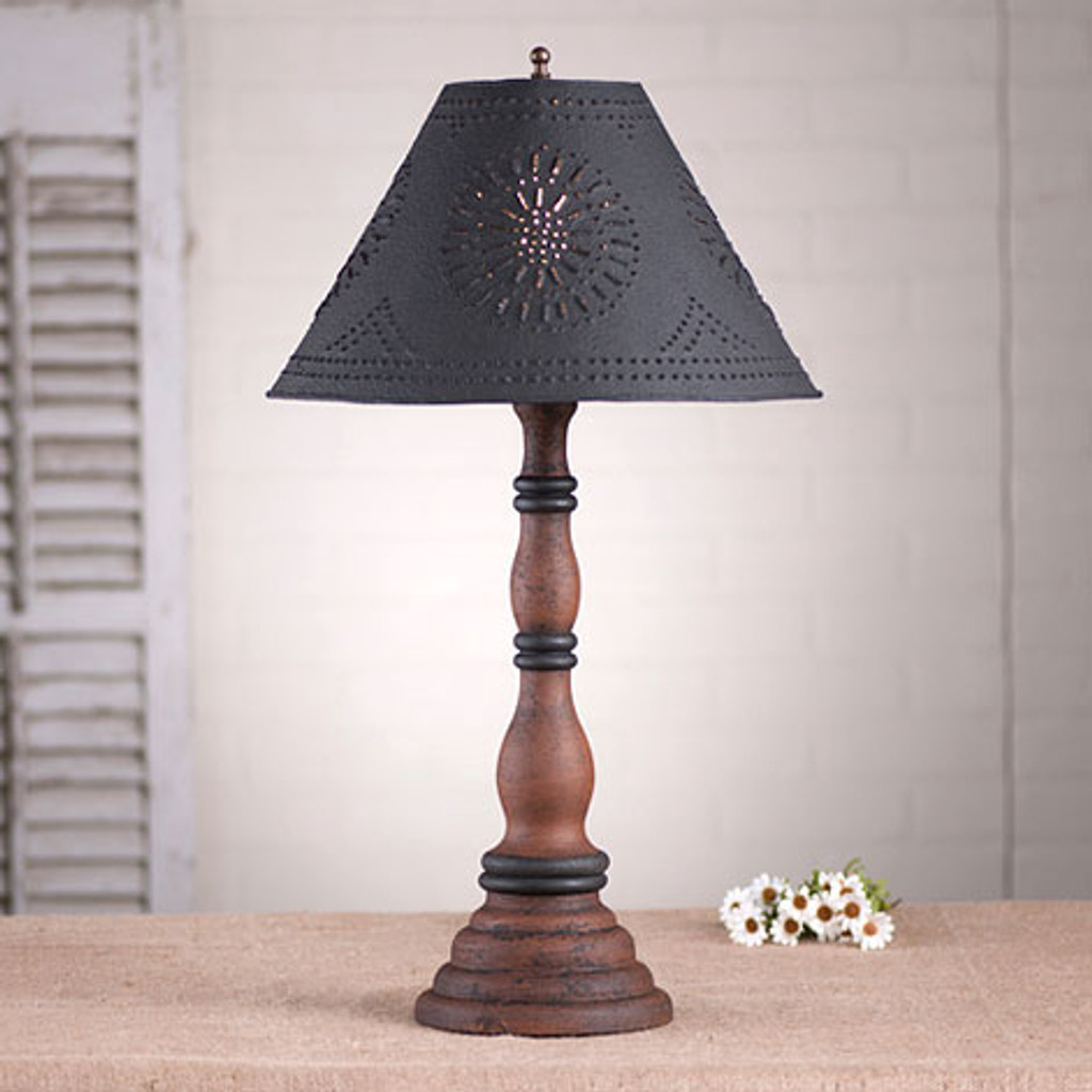 "Irvin's Davenport Lamp In Hartford Pumpkin, Shown With Optional 15"" Chisel Design Textured Black Shade"