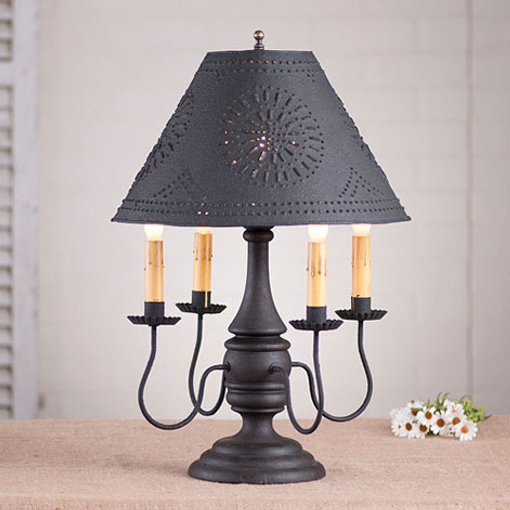 "Irvin's Jamestown Lamp In Hartford Black Over Red, Shown With Optional 15"" Chisel Design Textured Black Shade"