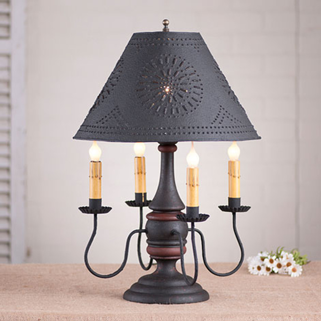 "Irvin's Jamestown Lamp In Hartford Black With Red Trim, Shown With Optional 15"" Chisel Design Textured Black Shade"