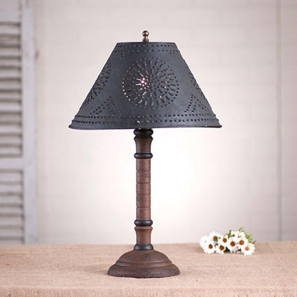 "Irvin's Gatlin Lamp In Hartford Pumpkin Shown With Optional 12"" Chisel Design Shade In Textured Black"