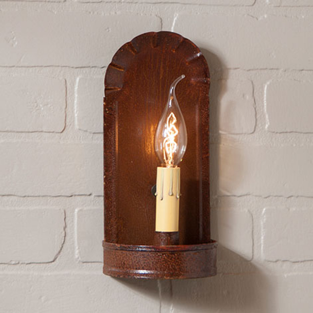Irvin's Fireplace Sconce Finished In Rustic Tin