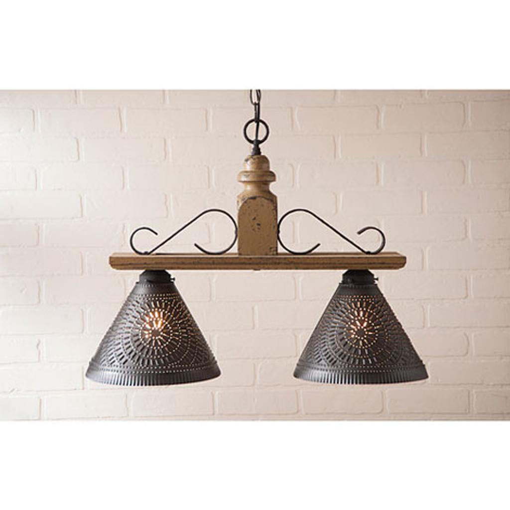Irvin's Wellington Hanging Light - Medium - Finished In Americana Pearwood