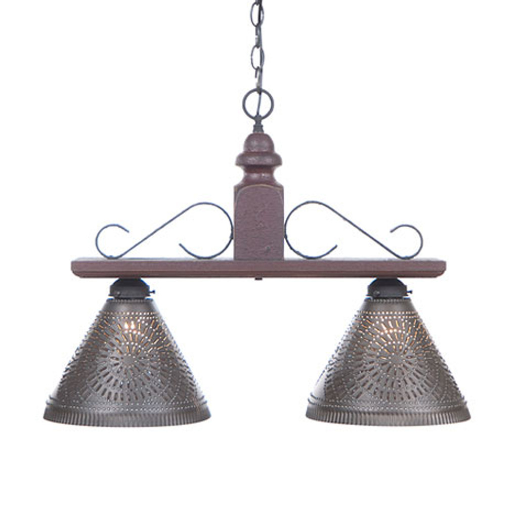 Irvin's Wellington Hanging Light - Medium - Finished In Americana Plantation Red