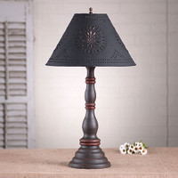 """Irvin's Davenport Lamp In Americana Espresso With Red, Shown With Optional 15"""" Chisel Design Shade Finished In Textured Black"""