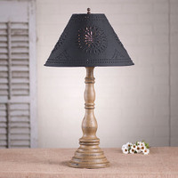 """Irvin's Davenport Lamp In Americana Pearwood, Shown With Optional 15"""" Chisel Design Shade Finished In Textured Black"""