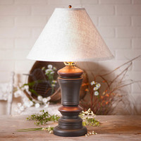 "Irvin's Peppermill Table Lamp Finished In Sturbridge Black & Red With 15"" Ivory Linen Shade"
