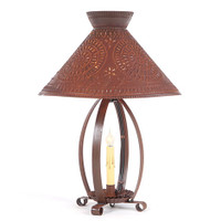 Irvin's Betsy Ross Lamp Finished In Rustic Tin. Shown With Optional Chisel Design Betsy Ross Shade Finished In Rustic Tin