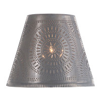 "Optional 14"" Fireside Chisel Design Shade Finished In Blackened Tin"