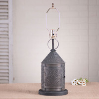 Irvin's Fireside Lamp With Chisel Design Finished In Blackened Tin