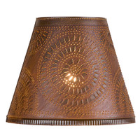 "Optional 14"" Fireside Chisel Design Shade Finished In Rustic Tin"