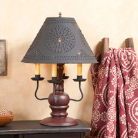 "Irvin's Cedar Creek Lamp In Sturbridge Red, Shown With Optional Chisel Design Textured Black 15"" Shade"