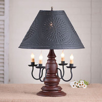 """Irvin's Harrison Lamp Finished In Americana Plantation Red, Shown With Optional 17"""" Chisel Design Shade Finished Textured In Black"""