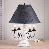 """Irvin's Harrison Lamp Finished In Americana Vintage White, Shown With Optional 17"""" Chisel Design Shade Finished Textured In Black"""