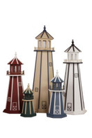 Amish Made Wood Garden Lighthouse - Standard - Assorted Colors, 2-6 Foot Sizes