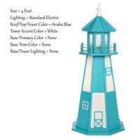 Amish Made Wood Garden Lighthouse - Cape Henry- Shown As: 4 Foot, Standard Electrical Lighting, Roof & Tower Primary Color Aruba Blue, Tower Accent/Trim Color White, - Optional Base Primary Color None, Optional Base Trim Color None. No Base/Tower Interior Lighting