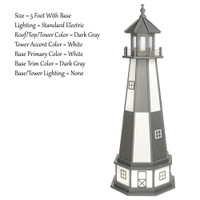 Amish Made Wood Garden Lighthouse - Cape Henry- Shown As: 5 Foot With Optional Base, Standard Electrical Lighting, Roof & Tower Primary Color Dark Gray, Tower Accent/Trim Color White, - Optional Base Primary Color White, Optional Base Trim Color Dark Gray. No Base/Tower Interior Lighting