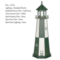 Amish Made Wood Garden Lighthouse - Cape Henry- Shown As: 4 Foot, Standard Electrical Lighting, Roof & Tower Primary Color Turf Green, Tower Accent/Trim Color White, - Optional Base Primary Color None, Optional Base Trim Color None. No Base/Tower Interior Lighting