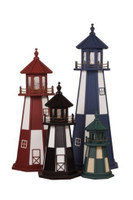 Amish Made Wood Garden Lighthouse - Cape Henry- Shown In Assorted Colors - 2-5 Foot