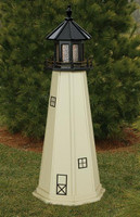 Amish Made Wood Garden Lighthouse - Split Rock - Shown As: 5 Foot, Standard Electric Lighting, Roof/Top Color Black, Tower Color Beige, Optional Base Primary Color None, Optional Base Trim Color None, No Base/Tower Interior Lighting