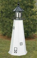 Amish Made Wood Garden Lighthouse - Cape Cod - Shown As: 5 Foot, Standard Electric Lighting, Roof/Top Color Black, Tower Color White, Optional Base Primary Color None, Optional Base Trim Color None, No Base/Tower Interior Lighting