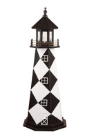 Amish Made Wood Garden Lighthouse - Cape Lookout- Shown As: 5 Foot, Standard Electrical Lighting, Roof & Tower Primary Color Black, Tower Accent/Trim Color White, - Optional Base Primary Color None, Optional Base Trim Color None. No Base/Tower Interior Lighting