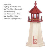 Amish Made Poly Outdoor Lighthouse - Cape May - Shown As: 3 Foot, Standard Electric Lighting, Roof/Top Color: Cherrywood, Tower Color: Ivory, Optional Base Primary Color None, Optional Base Trim Color None, No Base/Tower Interior Lighting
