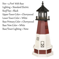 Amish Made Poly Outdoor Lighthouse - Barnegat - Shown As: 4 Foot With Base , Standard Electric Lighting, Roof/Top Color Black, Upper Tower Color Cherrywood, Lower Tower Color White, Optional Base Primary Color Cherrywood, Optional Base Trim Color White, No Base/Tower Interior Lighting