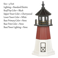 Amish Made Poly Outdoor Lighthouse - Barnegat - Shown As: 3 Foot, Standard Electric Lighting, Roof/Top Color Black, Upper Tower Color Cherrywood, Lower Tower Color White, Optional Base Primary Color None, Optional Base Trim Color None, No Base/Tower Interior Lighting