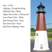 Amish Made Poly Outdoor Lighthouse - Barnegat - Shown As: 12 Foot, Standard Electric Lighting, Roof/Top Color Black, Upper Tower Color Cherrywood, Lower Tower Color White, Optional Base Primary Color None, Optional Base Trim Color None, No Base/Tower Interior Lighting