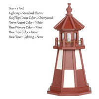 Amish Made Poly Outdoor Lighthouse - Cape Henry - Shown As: 2 Foot, Standard Electric Lighting, Roof/Top & Tower Primary Color: Cherrywood, Tower Accent Color: White, Optional Base Primary Color: None, Optional Base Trim Color: None, No Base/Tower Interior Lighting