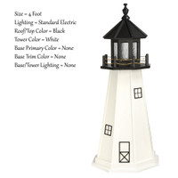 Amish Made Poly Outdoor Lighthouse - Cape Cod - Shown As: 4 Foot, Standard Electric Lighting, Roof/Top Color Black, Tower Color White, Optional Base Primary Color None, Optional Base Trim Color None, No Base/Tower Interior Lighting