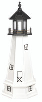 Amish Made Poly Outdoor Lighthouse - Cape Cod - Shown As: 4 Foot With Base, Standard Electric Lighting, Roof/Top Color Black, Tower Color White, Optional Base Primary Color White, Optional Base Trim Color White, No Base/Tower Interior Lighting