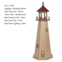 Amish Made Poly Outdoor Lighthouse - Cape May - Shown As: 5 Foot, Standard Electric Lighting, Roof/Top Color: Brown, Tower Color:Weatherwood, Optional Base Primary Color None, Optional Base Trim Color None, No Base/Tower Interior Lighting