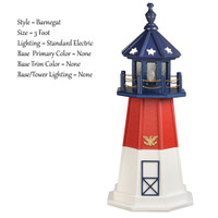Amish Made Poly Outdoor Lighthouse - Patriotic - Shown As: Patriotic Barnegat, 2 Foot, Standard Electric Lighting, Optional Base Primary Color None, Optional Base Trim Color None, No Base/Tower Interior Lighting